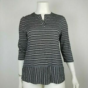 Talbots Petites black and white striped top.